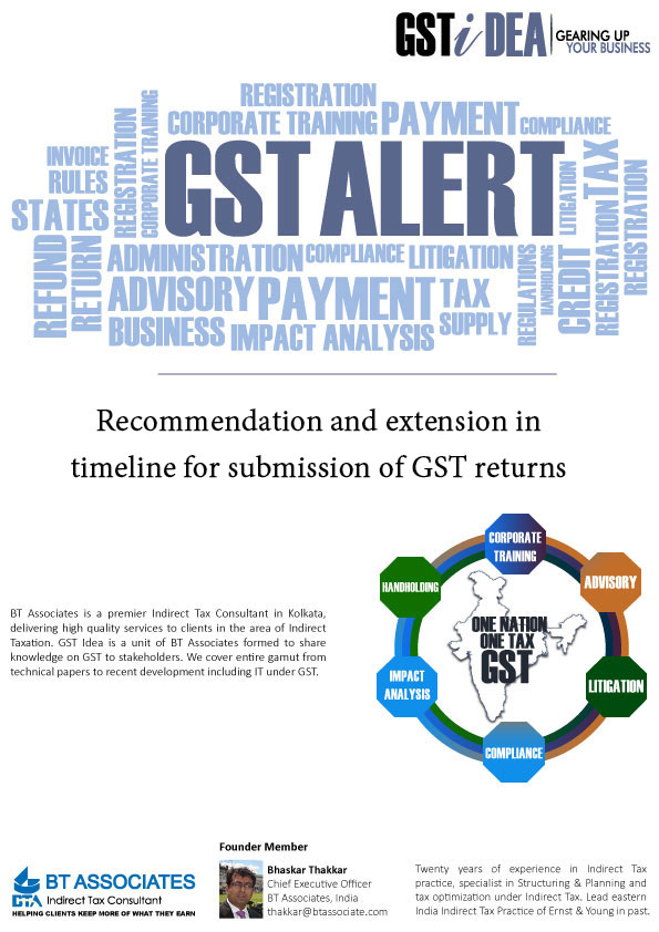 Recommendation and extension in timeline for submission of GST returns