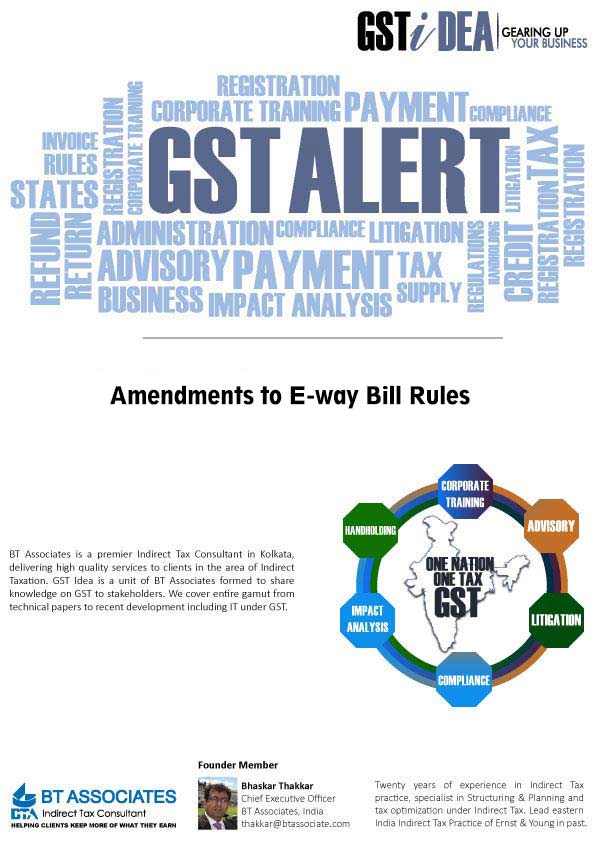Amendments to E-way Bill Rules