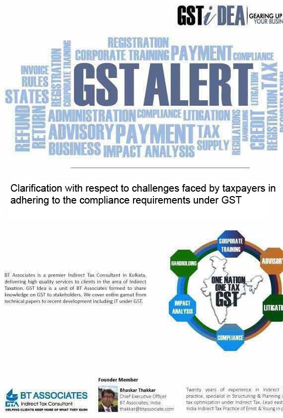 Clarification with respect to challenges faced by taxpayers in adhering to the compliance requirements under GST